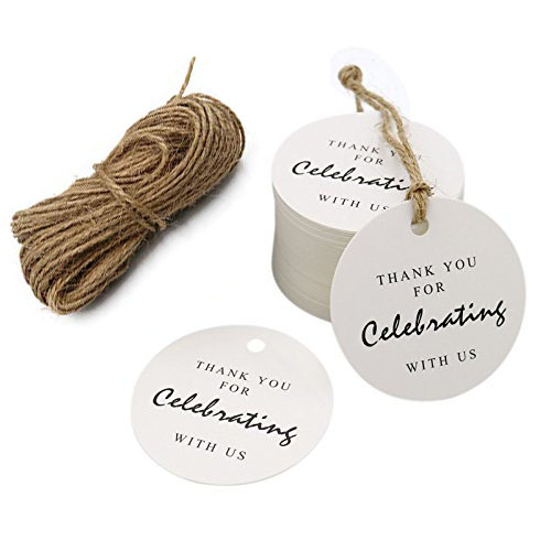 100pcs Thank You Paper Tags With Hole For Celebrating With Us Wedding Decoration Gift Tags Packaging Hang Tags School Stationery
