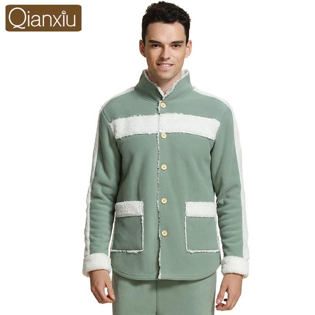 Qianxiu Algodão-acolchoado jacket pijamas para homens floral pijamas set luxo de cetim suave botão do pijama de inverno gola de pele quente