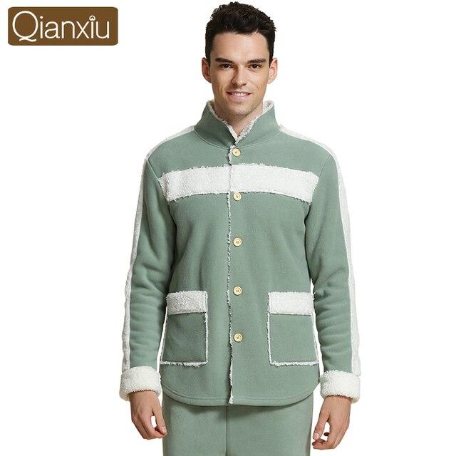 Qianxiu Cotton-padded jacket pajamas for men  floral pajamas set luxury satin smooth winter pyjama button fur collar warm
