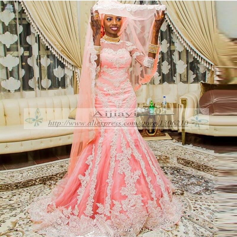 2016 Muslim Pink Wedding Dresses Lace Appliqued Mermaid Bridal Gowns ...