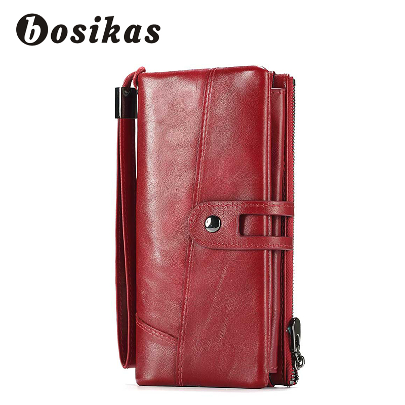 BOSIKAS Genuine Leather Women Wallet Female zipper Long Wallet clamp for money Coin Purse Clutch Card Holder New Fashion Wallet fashion girl change clasp purse money coin purse portable multifunction long female clutch travel wallet portefeuille femme cuir