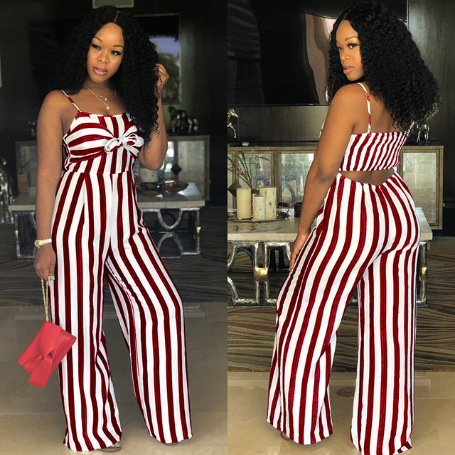 2da099b82db1 Sexy Suspender JUMPSUIT Wide Leg Casual Striped ROMPER Elegant WOMEN Strap  Overalls Tank Bow Tie Sleeveless High Waist Plus Size