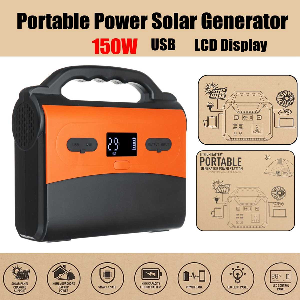 Detail Feedback Questions About 150wh 150w Portable Inverter Solar Home Power Supply Generator Energy Storage Outdoor Generation Usb Lcd