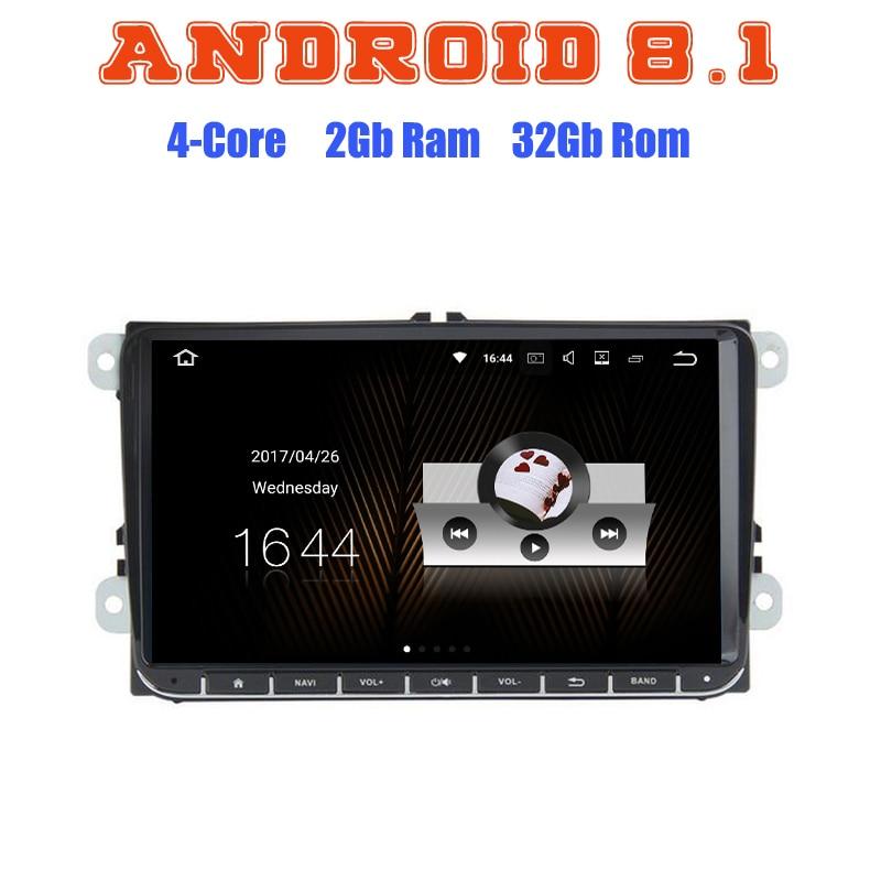 Android 8.1 Quad Core autoradio GPS multimédia pour Golf 5 6 Polo Passat Sharan Tiguan Jetta EOS avec 2 + 16G wifi 4G bluetooth