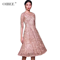 Oibee2019 весеннее Новое Женское модное вышитое платье для похудения с рукавами из семи точек, большой маятник, кружевное вышитое платье