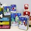 4 Pcs Set Gifts Printed Christmas Square Cylindrical Cartoon Tin Box Printed Santa Claus Receive Box