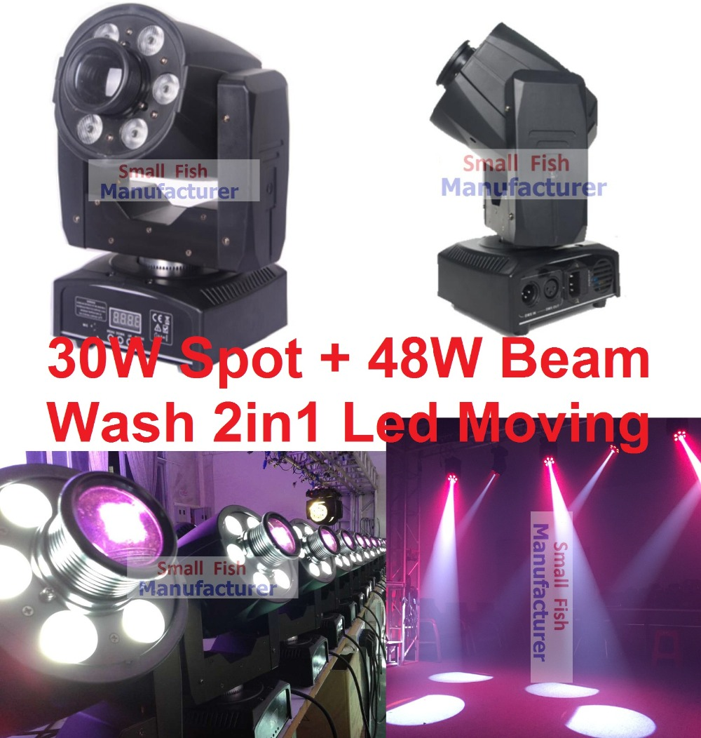 Myynti 2019 Mini 30W LED Spot + 48W RGBW LED Beam Wash liikkuva päänvalo USA Luminums 30W DJ Disco DMX Professional lavavalot