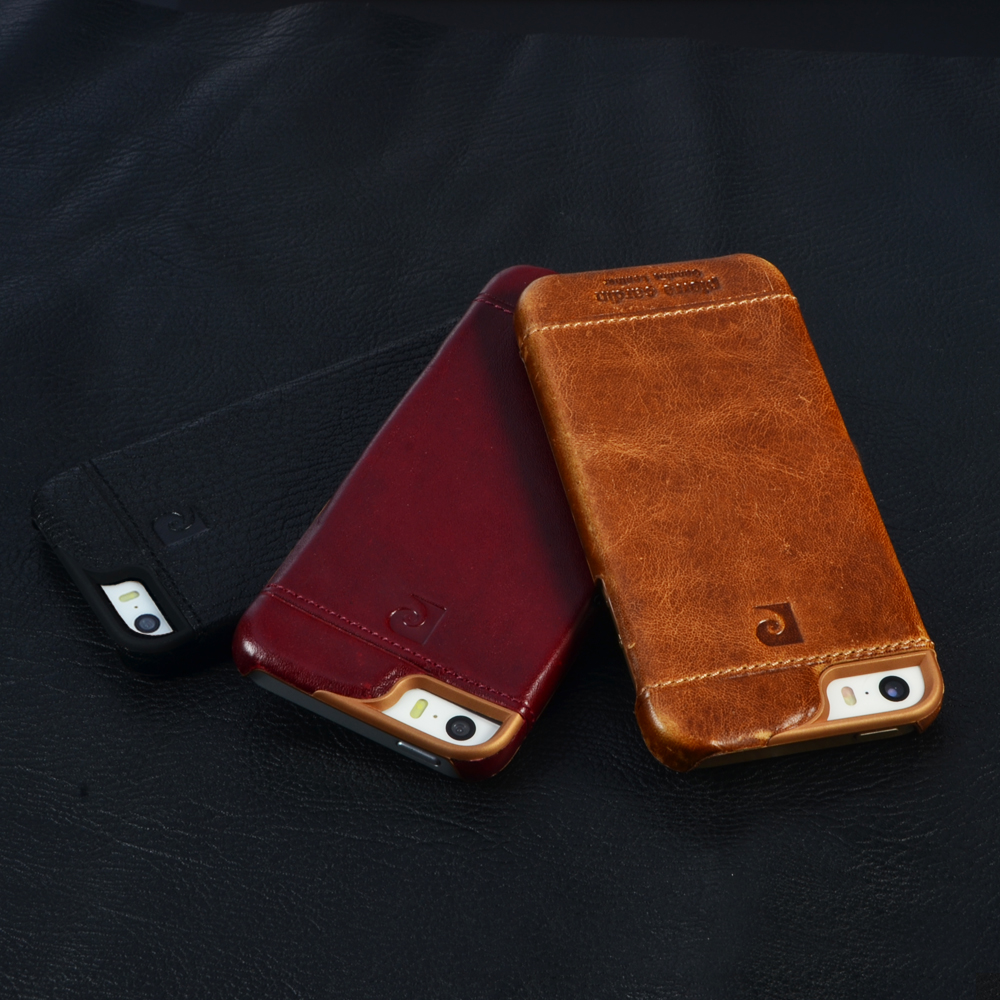 Pierre Cardin Véritable Mode En Cuir De Luxe Cas de Téléphone portable Pour l'iphone SE 5 5g 5S Couverture Arrière Vintage