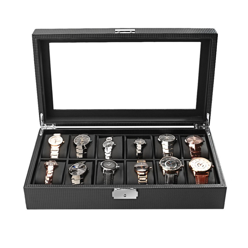 Luxury 12 Grid Slots Jewelry Watches Case Display Storage Organizer Holder Box High-Grade Carbon Fiber Design Big Glass Window dark wine red wooden watch display box automatic switch and lock watches case jewelry storage holder organizer free shipping