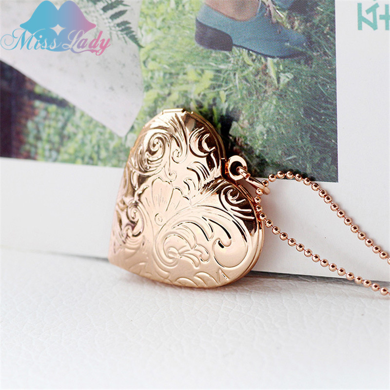 Creative pocket watches ventage pattern hearts put photos open close fashion Pendant love Necklace for women MLA1015
