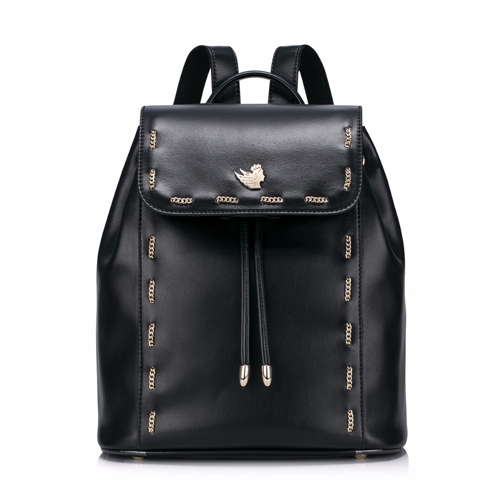 Women's Fashion Chains Drawstring Casual Ladies Girls Student back to School Backpacks Daypacks Shoulders Travel Bucket Bag nucelle brand new design women s fashion casual drawstring genuine cow leather girls ladies backpacks shoulders travel bag