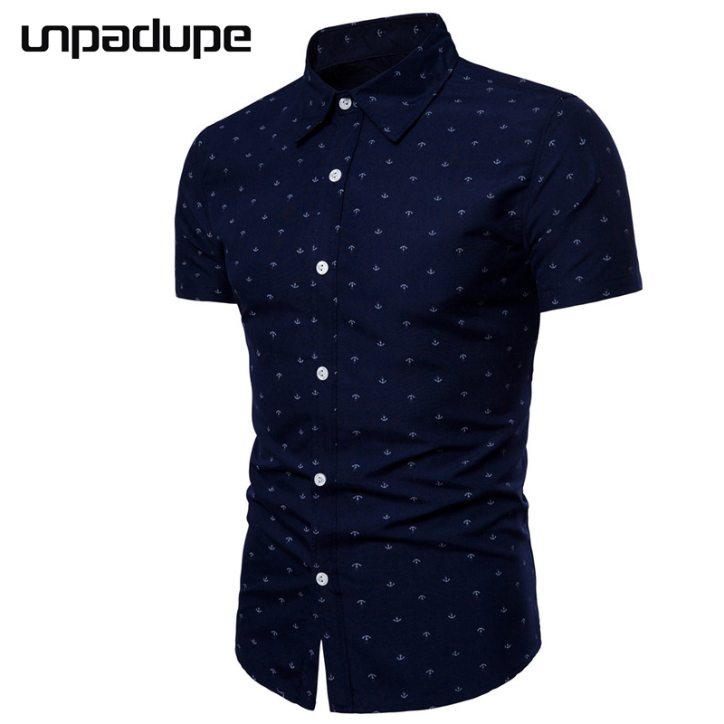 Unpadupe New Brand 2018 Men Shirt Anchor Printing Dress Shirt Short Sleeve Slim Fit Camisa Masculina Casual Male Hawaiian Shirts ...