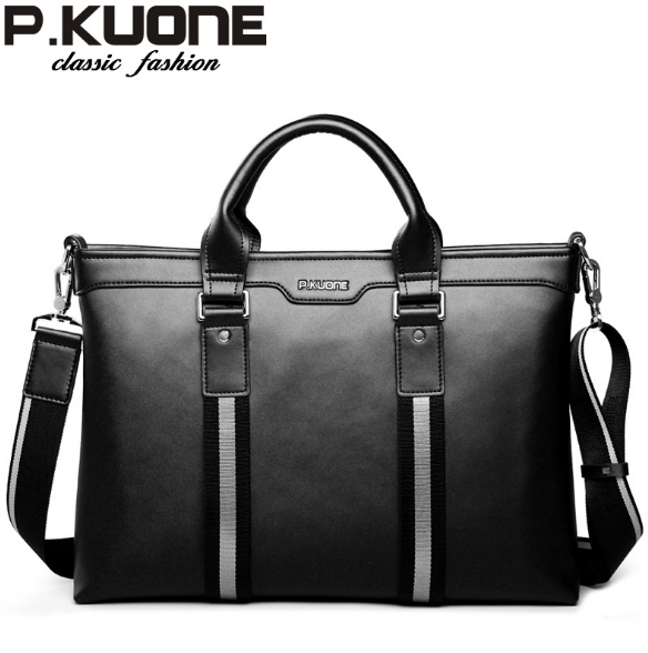 P.kuone men genuine leather handbag, men commercial business briefcase 14 laptop bag, cowhide messenger bag,free shipping 2017 new fashion women long cotton coats size s 2xl hooded collar warm parkas winter black navy green color woman parkas qh0449