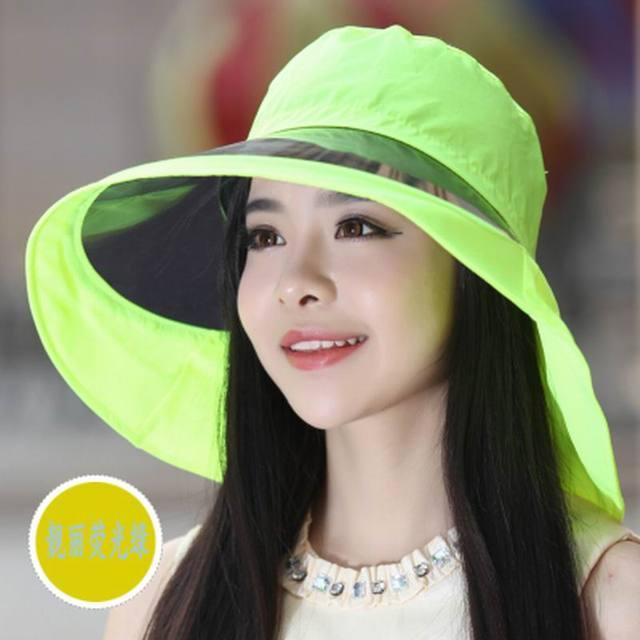 Sombrero femenino del sol del verano del sombrero de ala grande anti-ultravioleta sunbonnet al aire libre casquillo de la manera