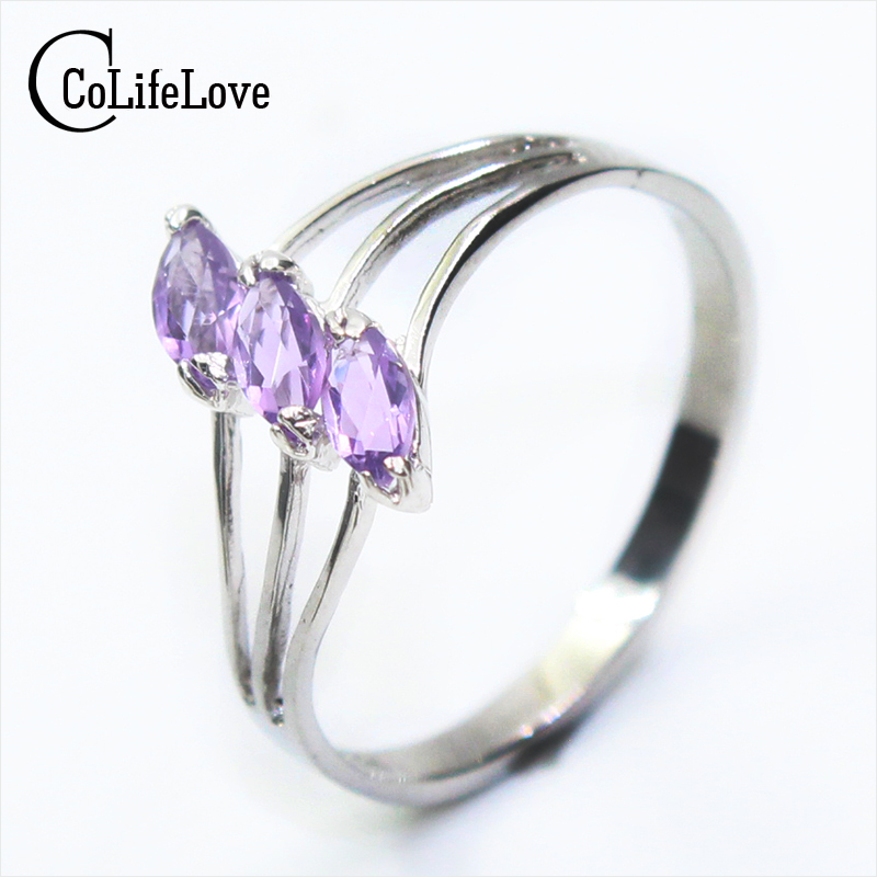 100% natural amethyst silver ring 3pcs 2.5 mm *5 mm natural amethyst gemstone ring solid 925 silver amethyst jewelry for woman lalique amethyst eclat