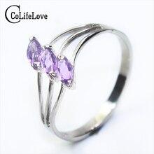 100% натуральный аметист серебряное кольцо 3 шт. 3 мм * 6 мм Природный камень аметист кольцо Solid 925 серебро, аметист украшения для женщин