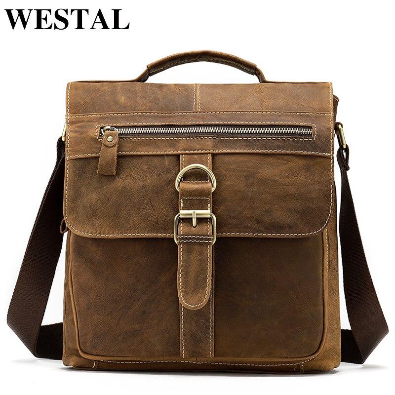 WESTAL мужская сумка-мессенджер Большая мужская сумка через плечо Мужская Натуральная кожа сумки через плечо для мужчин сумка кожаная сумка-м...