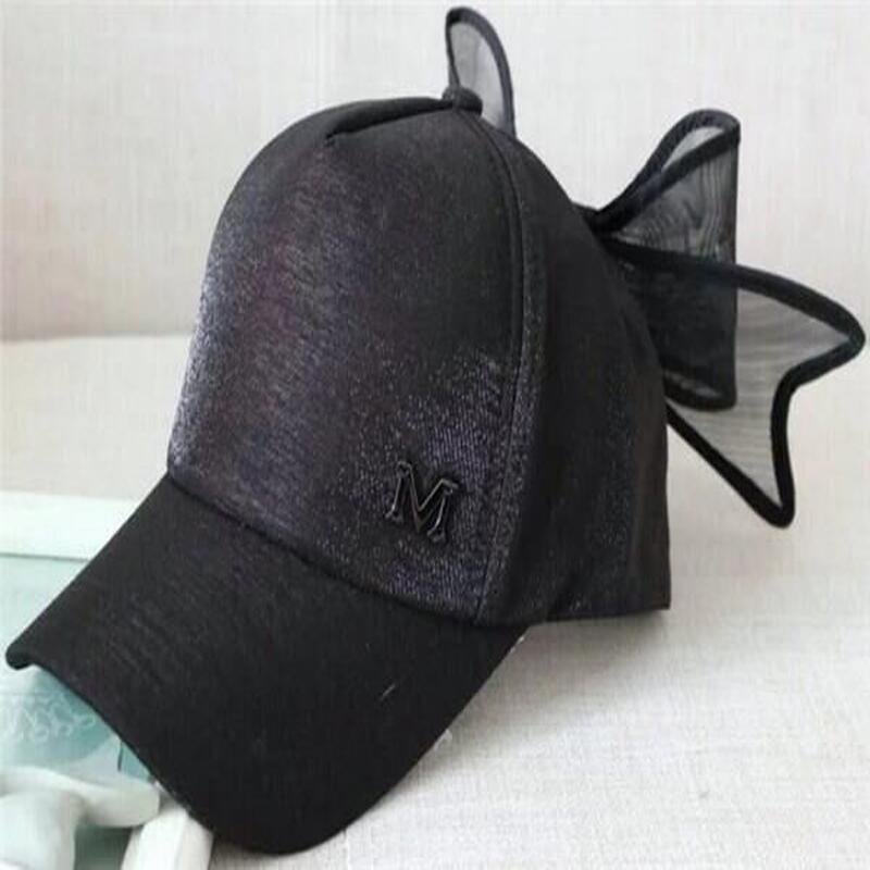 2016 New fashion M Oversized mesh bow cap hip hop Snapback hats for women  Gorras synthetic leather sports street dance caps hat-in Baseball Caps from  ... ee84347dfde