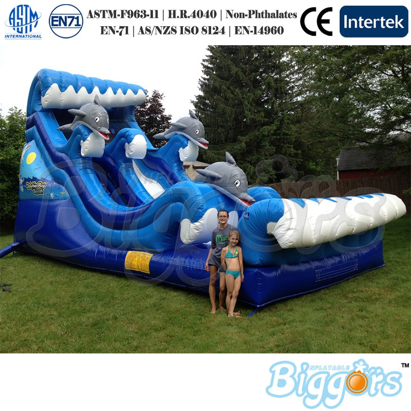Funny Blue Color Dolphin Slide Inflatable Ocean Wave Water Slide For Children Game funny inflatable slide water slide for sale