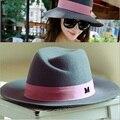 Alta calidad otoño invierno mujer sombreros de ala sombreros reino unido estilo lanas de moda del sombrero de fedora para para M marcos envío gratis