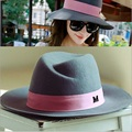 High quality autumn winter woman woolen fedoras hats UK style fashion wool fedora hat for women M mark free shipping
