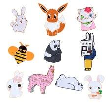 Fashion Cartoon Animal Panda pin fox women Brooch Cute Bunny Cat Bee Brooches Badge lapel Shirt Bag alloy icon pins Jewelry