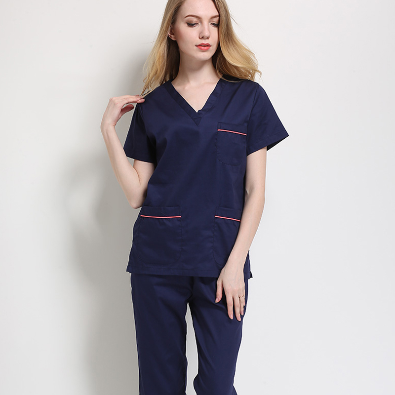 Women's Fashion Scrubs Medical Uniforms Color-blocking Design(top/set)