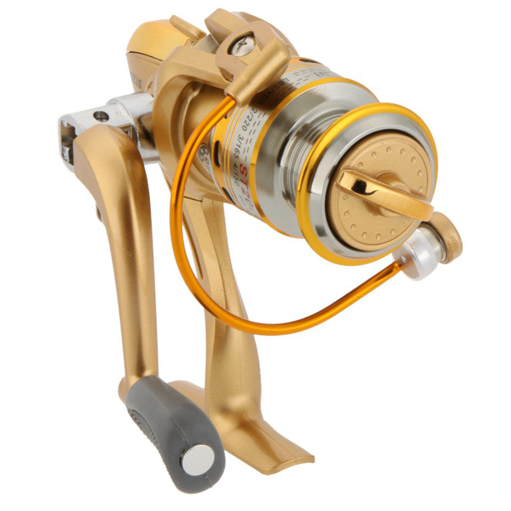 FAAJ Good Deal 8 Ball Bearings Left/Right Interchangeable Collapsible Handle Fishing Wheel Spinning Reel Gold