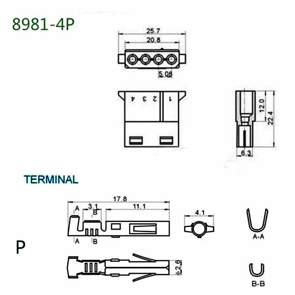 1 เซ็ต 5.08 มิลลิเมตร 4 สีขาวโปร่งใสไนลอนขั้วต่อหญิง Terminal 8981 IDE Power Plug สำหรับ 18-24AWG ลวด