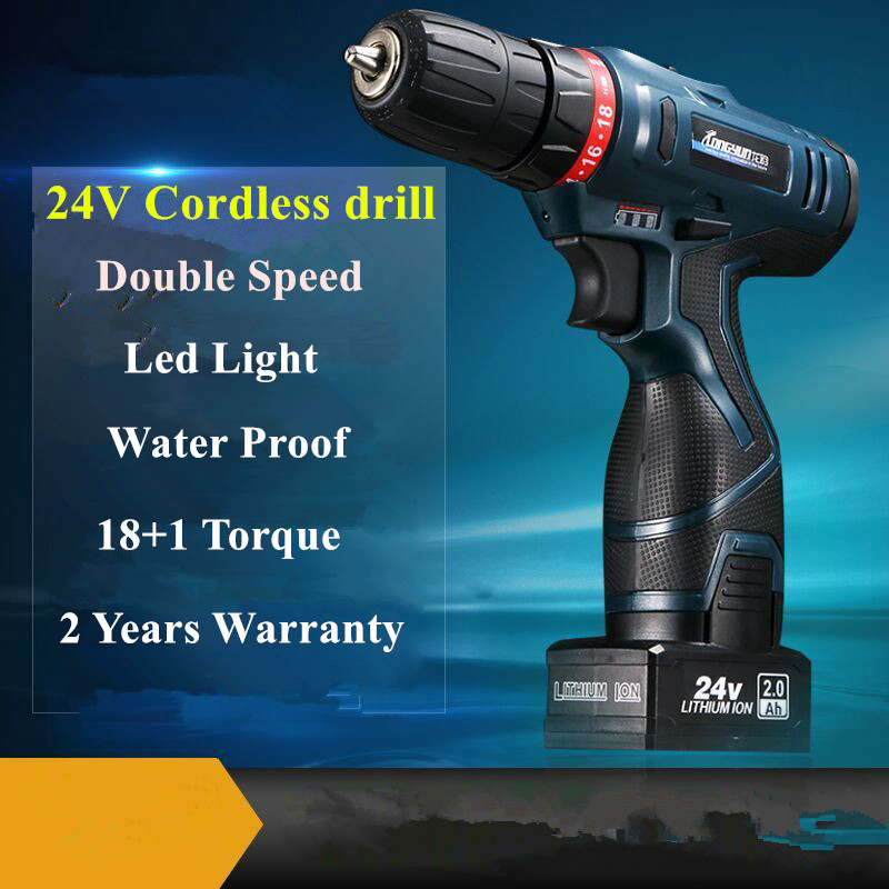 Professional 24V Double speed Lithium Battery Cordless Drill Power Tools Mini Drill Electric Drill with 2 year warrantly professional 24v double speed lithium battery cordless drill power tools mini drill electric drill with 2 year warrantly