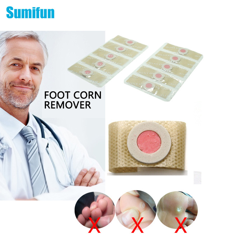 Sumifun 10Pieces Feet Corns Removal Patch Pain Relief Warts Remover Foot Callus Medical Plaster Soften Skin Cutin Feet Care C037
