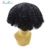 Ali FumiQueen Hair Afro Curly Mens Toupee Full Lace Remy Indian Hair Hairpieces All Lace Human Hair