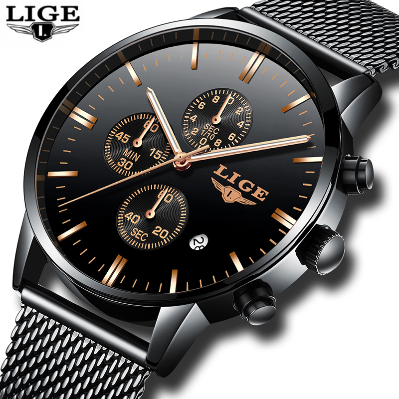 Mens Watches LIGE Top Brand Luxury Waterproof Ultra Thin Date Clock Male Steel Strap Casual Quartz Watch Men Sports WristWatch nakzen men watches top brand luxury clock male stainless steel casual quartz watch mens sports wristwatch relogio masculino