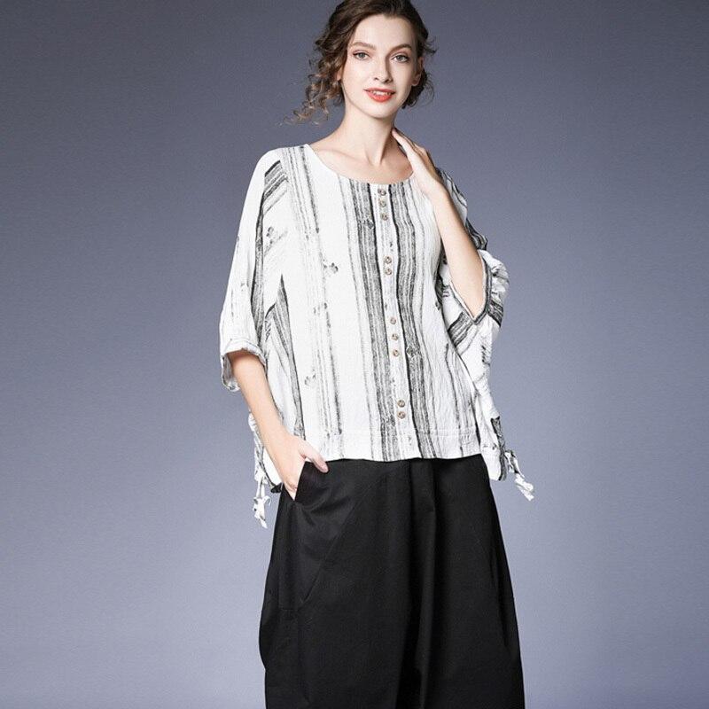 [EAM] 2019 nouveau printemps été col rond demi manches blanc rayé Split Joint lâche grande taille T-shirt femmes mode marée JT928 - 6