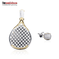 LZESHINE Real 925 Sterling Silver AAA Cubic Zircoin Tennis Rack Asymmetric Earrings Designer Jewelry For Party