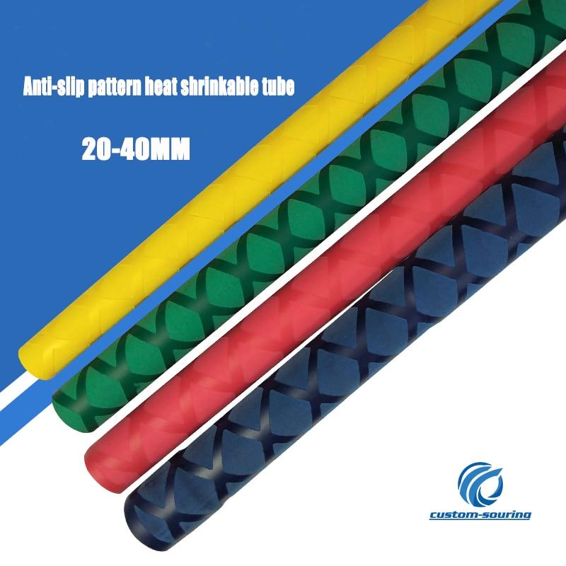 0.5M 20-40MM Color Shrink Tube Slip Heat Shrinkable Tube Rod Gloves Anti Skid Fishing Heat Shrink Electrical Insulation