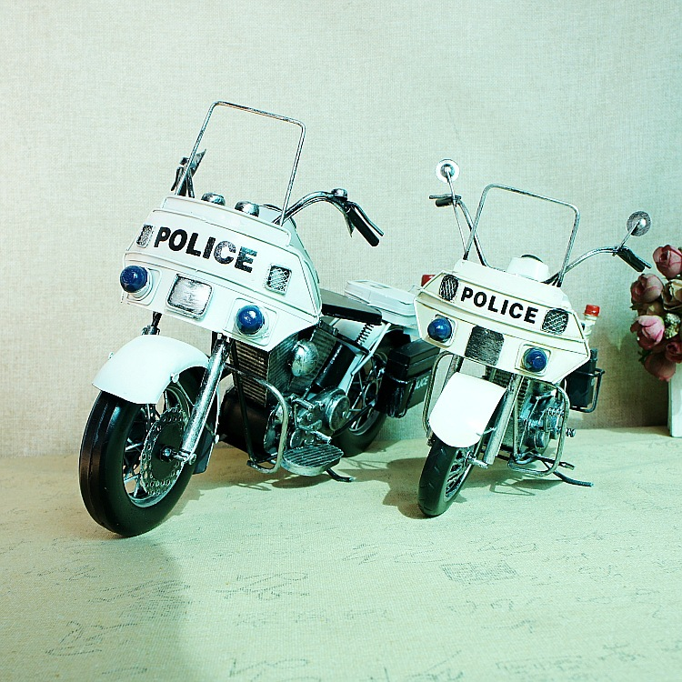 New manual POLICE motorcycle model metal creative gift home decoration  042SMT desk christmas decorations for