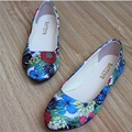 Lady High quality Flowers Printing leather Cotton Fabric Women Single Shoes On Platform Plus size 42 Flattie Slip-on Pointed Toe