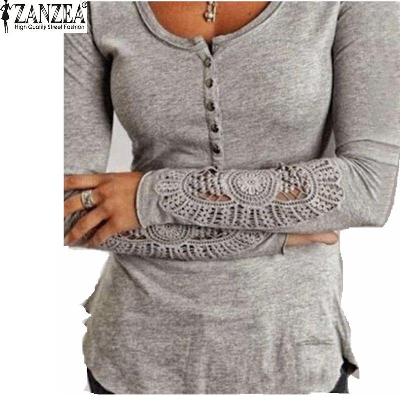 ZANZEA мода осень 2018 Для женщин blusas Вышивка крючком Кружево рукавом полые Блузки для малышек Повседневное одноцветное Топы корректирующие o-об...
