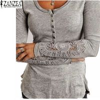 Zanzea Fashion Autumn 2017 Women Blusas Embroidery Crochet Lace Sleeve Hollow Blouses Casual Solid Tops O-Neck Shirt Plus Size