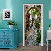 Fashion Style Views Street Vinyl Door Stickers DIY Mural Bedroom Renovation Home Decor Poster PVC Waterproof