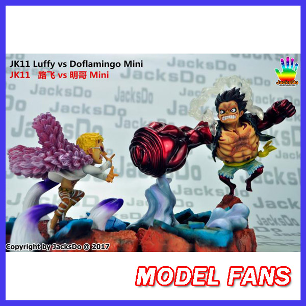 MODEL FANS instock jacksdo One Piece 19cm mini SD Monkey D. Luffy VS Donquixote Doflamingo gk resin toy Figure for Collection model fans instock one piece 18cm donquixote doflamingo vs trafalgar law gk resin toy figure for collection