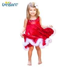 LONSANT 2017 Baby Girls Kids Christmas Party Red Dresses Funny Vestidos Cotton Sleeveless Roupas Infantis Menina Dropshipping