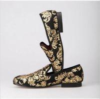 Шикарные мужские лоферы с цветочным принтом вечерние Туфли без каблуков золото обувь без застежки с закругленным носком Повседневное мока