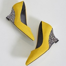 2017 Yellow Genuine leather Symphony sequined 7.5 CM Heels Women wedges Platform shoes Horsehair Fashion Casual shoes LMZ-B690
