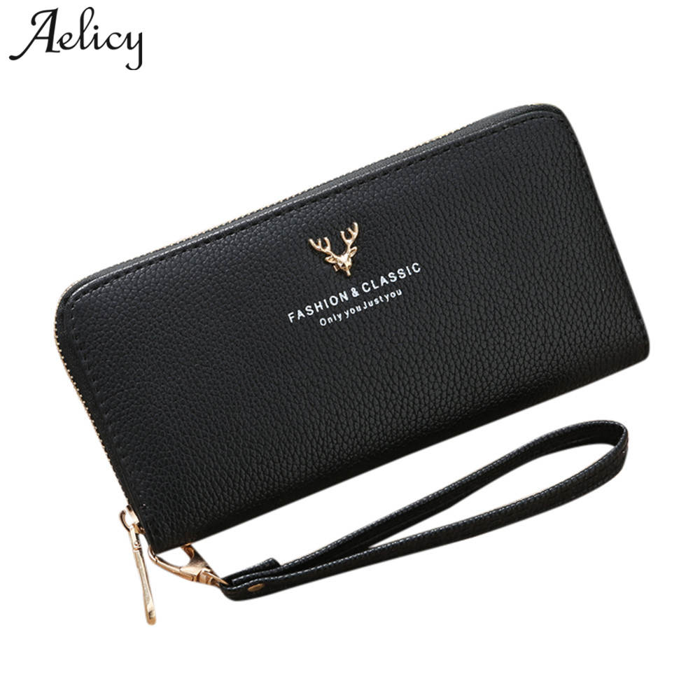 Aelicy Luxury Lichee Pattern Women Wallet Long Zipper Leather Lady Wallet Female Phone Bag Clutch Bag Ladies carteira feminina