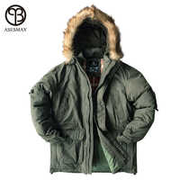 Asesmay Brand Down Jacket Men Military Cotton Fabric White Duck Down Thick Outwear Waterproof Men Down Parka Jackets Snow Coat