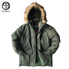 Asesmay marca por los hombres chaqueta militar tela de algodón pato blanco abajo grueso Outwear hombres impermeables chaquetas Parka capa de nieve