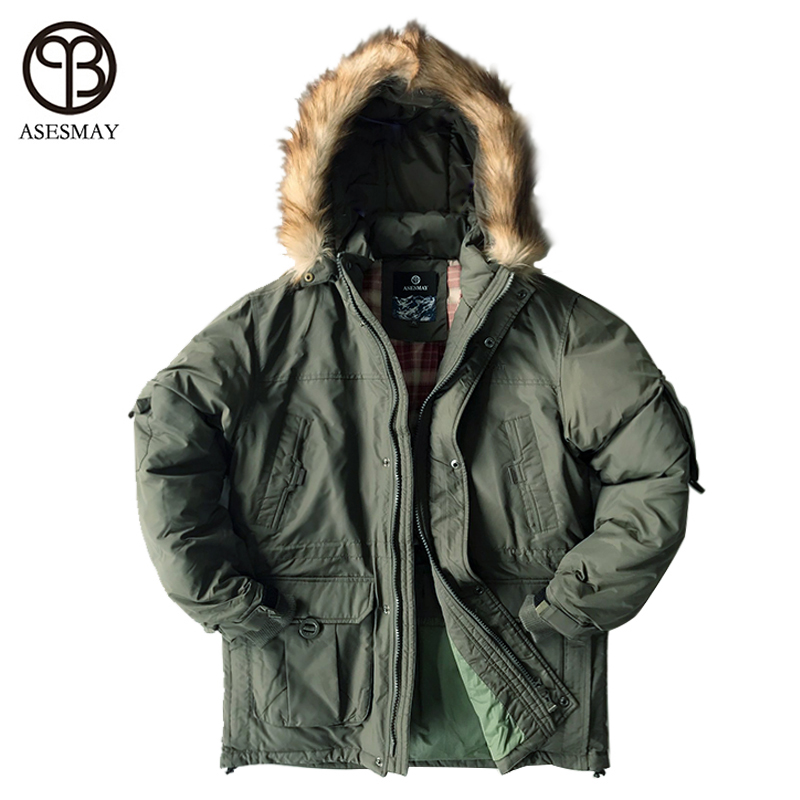 Asesmay Marque Doudoune Homme Militaire Coton Tissu Blanc Duvet de canard Épais Outwear Imperméable Hommes Parka Vestes Manteau de Neige