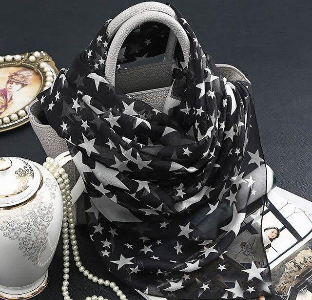 Винтаж Шарф Черно-Белой Печати Звезда шаль для женщин 100% Чистый шелк полноценно Летом Призвание Пляж Suncreen пашмины банданы шарф